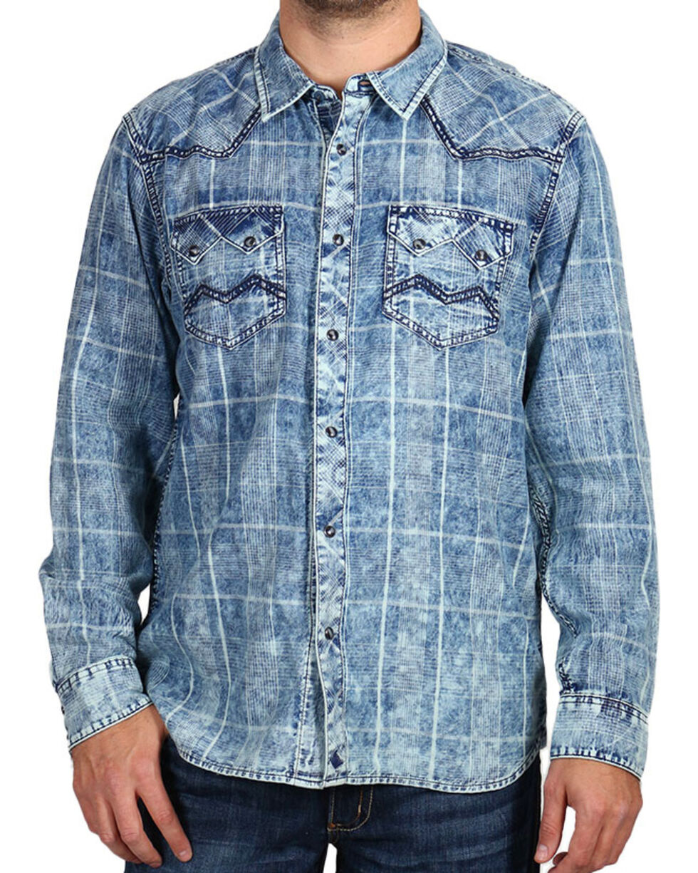 Cody James Men's Denim and Plaid Long Sleeve Shirt, , hi-res