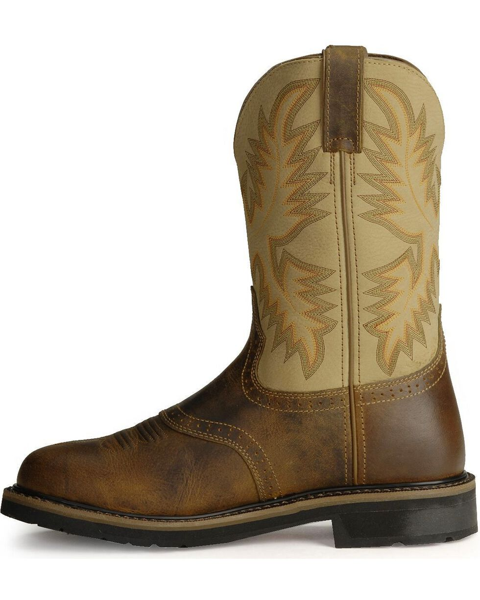 Justin Men's Soft Toe Work Boots, Brown, hi-res