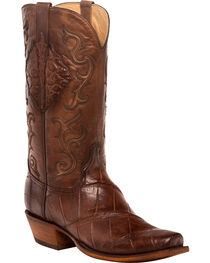 Lucchese Men's Ace Chocolate Giant Gator Western Boots - Square Toe, , hi-res