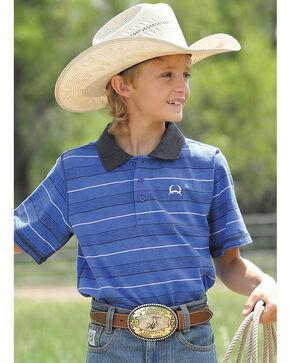 Cinch Boys' Blue Short Sleeve Polo Shirt , Heather Blue, hi-res