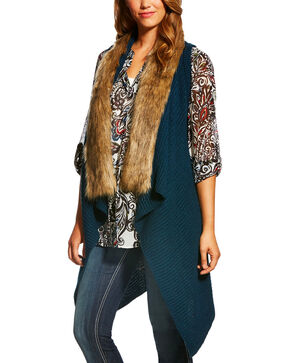 Ariat Women's Faux Fur Collar Sweater Vest, Indigo, hi-res