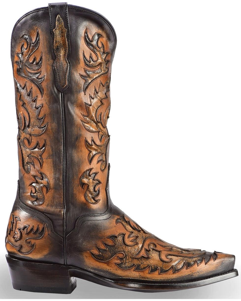 El Dorado Men's Handmade Black and Tan Inlay Cowboy Boots – Snip Toe , Black, hi-res