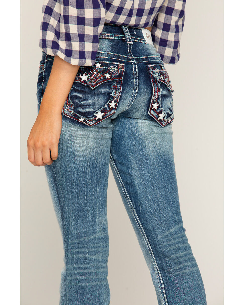 Shyanne Women's Star Embroidered Jeans - Boot Cut, Blue, hi-res