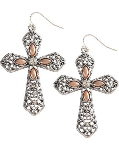 Shyanne Women's Cross Earrings, Silver, hi-res
