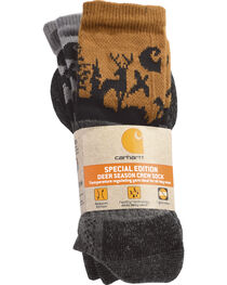 Carhartt Men's Special Edition Deer Season Crew Socks - 2 Pack, Brown, hi-res