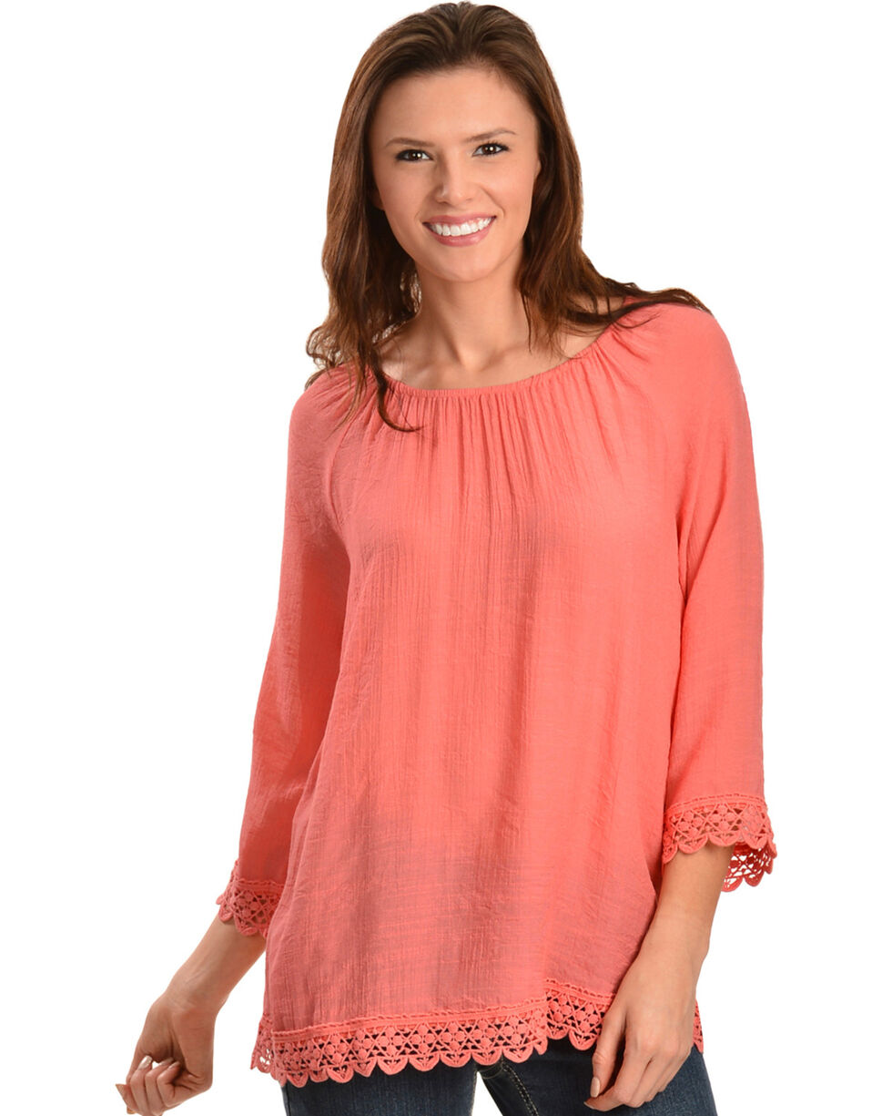 Red Ranch Coral Lace Peasant Top, , hi-res