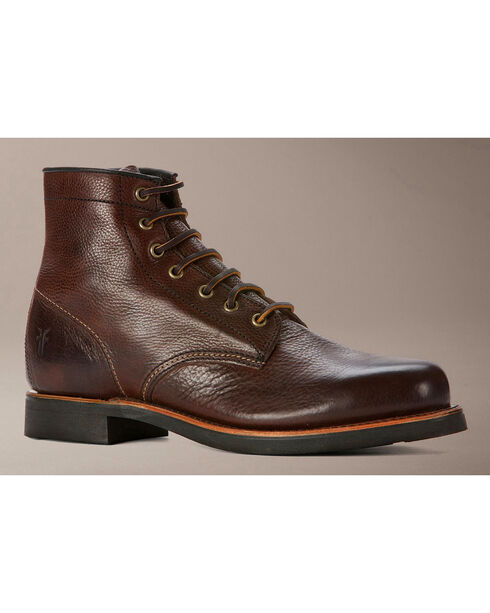 Frye Men's Arkansas Mid Lace Boots - Round Toe, Dark Brown, hi-res