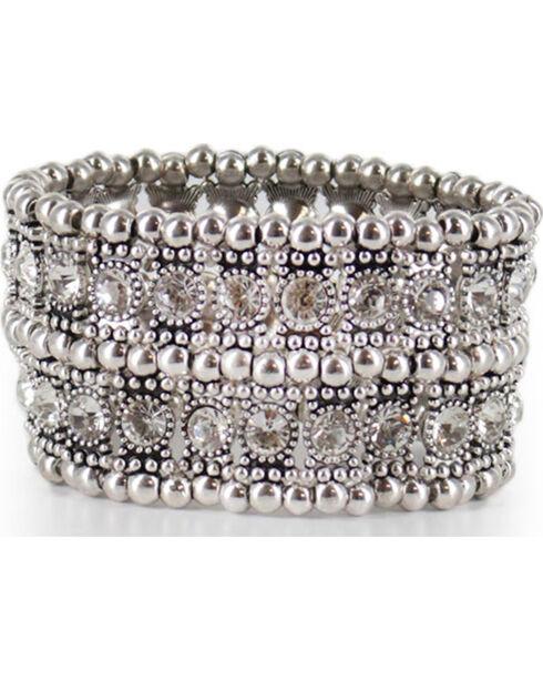 Shyanne® Women's Rhinestone Cuff Bracelet, Silver, hi-res