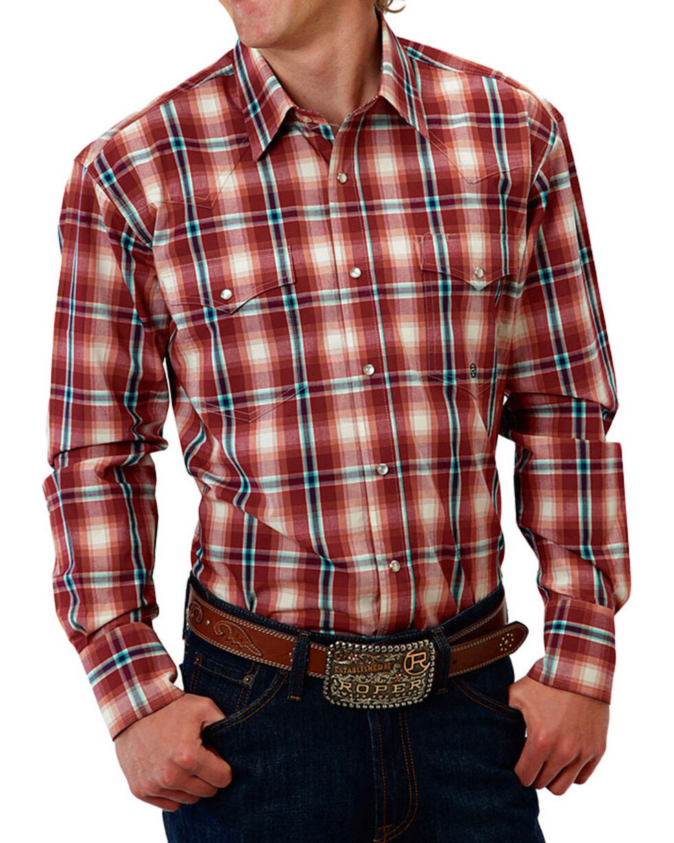Roper Men's Plaid Snap Long Sleeve Shirt, Red, hi-res