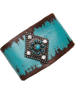 Cowgirl Confetti by AndWest Turquoise Leather Diamond Medallion Cuff, Blue, hi-res