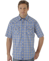 Wrangler 20X Men's Blue and Navy Plaid Short Sleeve Snap Shirt , , hi-res