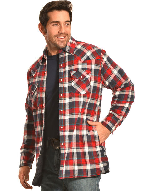 Ely Cattleman Men's Red Plaid Quilted Flannel Jacket Shirt , , hi-res