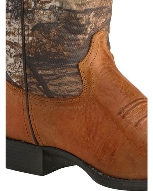 Old West Youth Real Tree Green Camo Cowboy Boots, Tan, hi-res