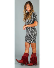 Wrangler Rock 47 Women's Black Print Dolman Wedge Dress , , hi-res