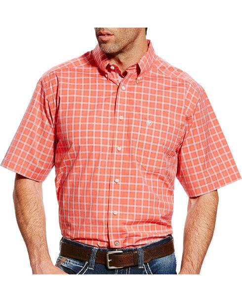 Ariat Men's Pro Series Finch Plaid Short Sleeve Button Down Shirt, Coral, hi-res