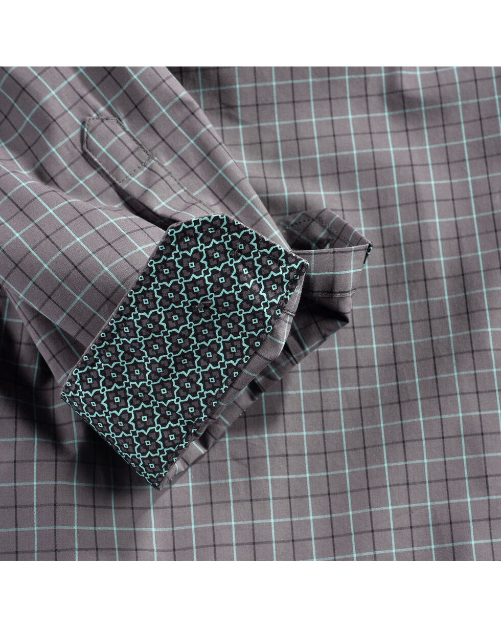 Cinch Men's Grey Plaid Print Long Sleeve Western Shirt , Grey, hi-res
