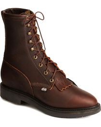 "Justin Men's 8"" Lace Up Steel Toe Work Boots, , hi-res"