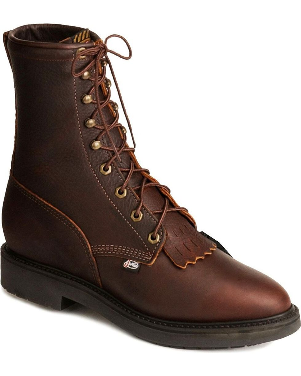 "Justin Men's 8"" Lace Up Steel Toe Work Boots, Tobacco, hi-res"