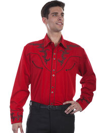 Scully Men's Embroidered Yoke Western Shirt , , hi-res
