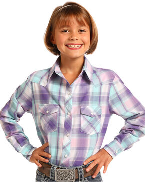 Panhandle Girls' Purple Plaid Long Sleeve Snap Shirt, Purple, hi-res