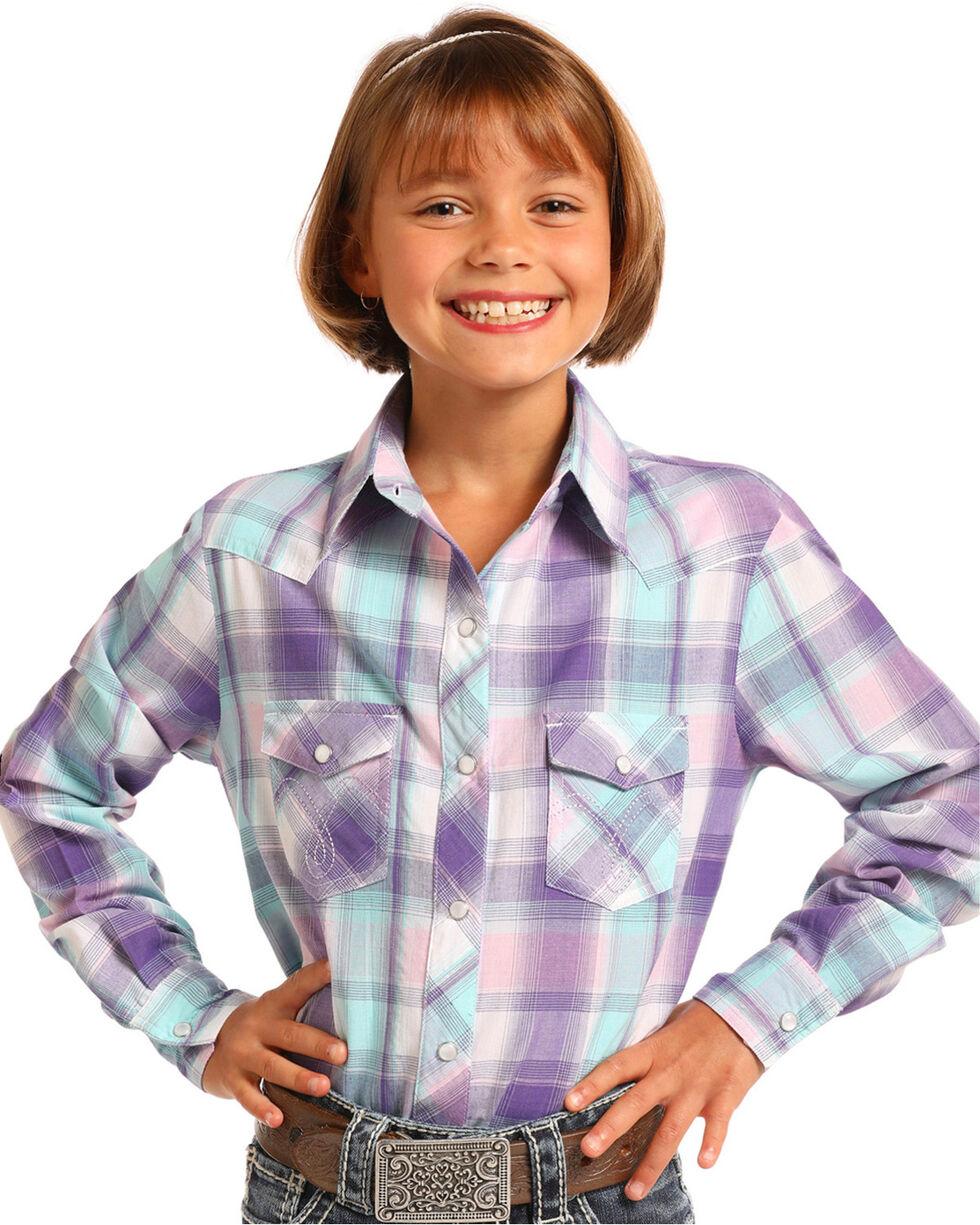Panhandle Girls' Purple Plaid Long Sleeve Snap Shirt, Purple, hi-res