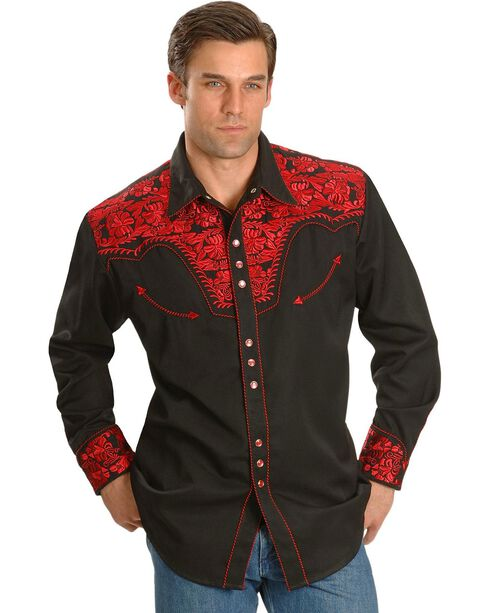 Scully Crimson Floral Embroidery Retro Western Shirt, Crimson, hi-res