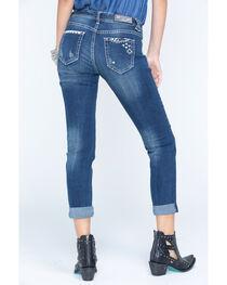Grace in LA Women's Medium Blue Patchwork Boyfriend Jeans - Cuff, , hi-res