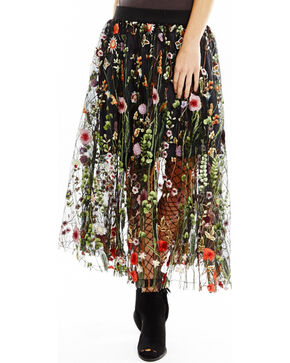 Aratta Women's Black Wild Flower Skirt , Black, hi-res