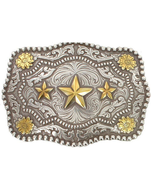 Cody James® Men's Triple Star Belt Buckle, Silver, hi-res