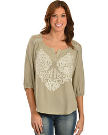 Miss Me Lace Embellished Crepe Top, , hi-res
