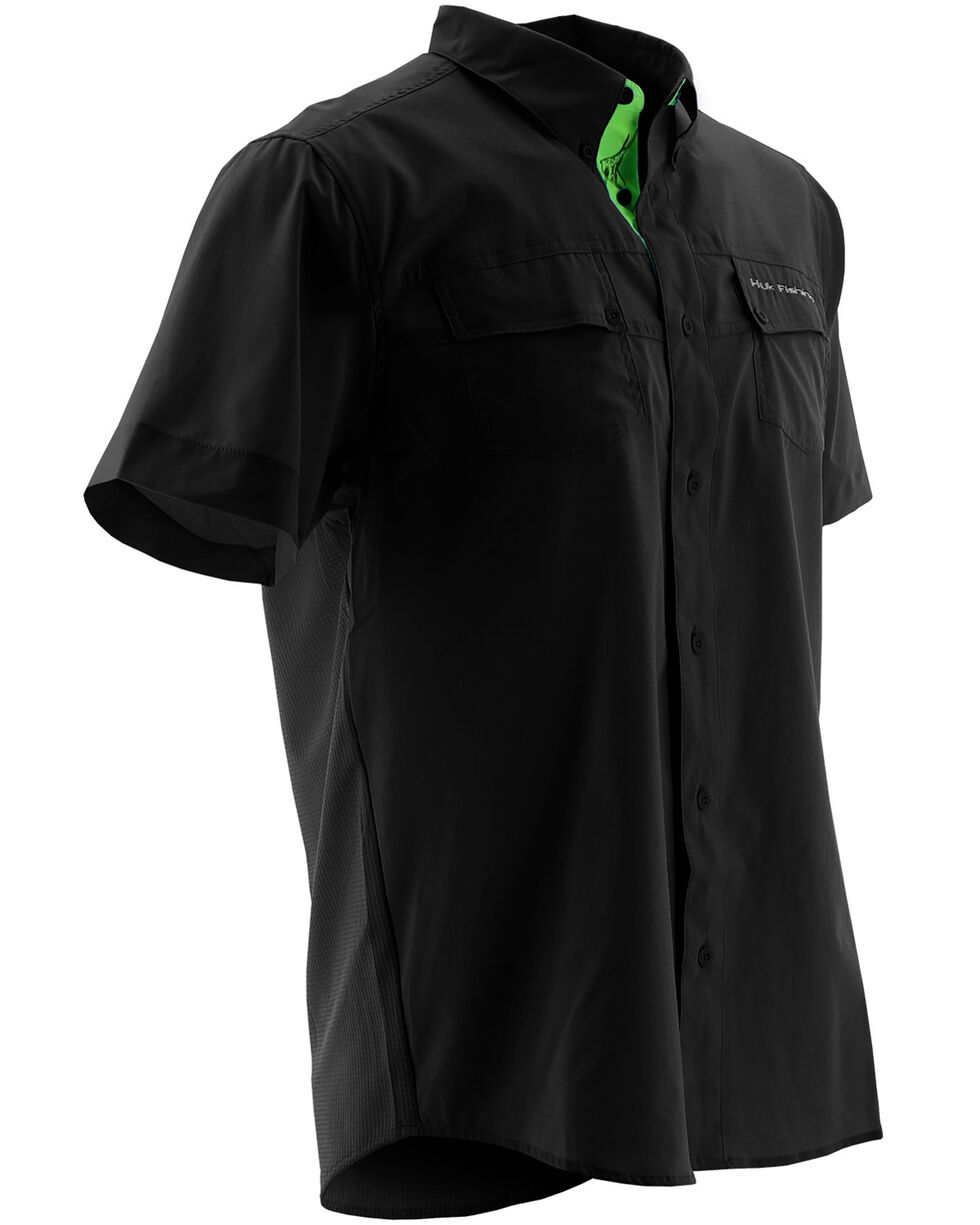 Huk Performance Fishing Men's Phenom Short Sleeve Shirt , Black, hi-res