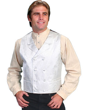 Rangewear by Scully Paisley Print Double Breasted Vest - Big & Tall, Cream, hi-res