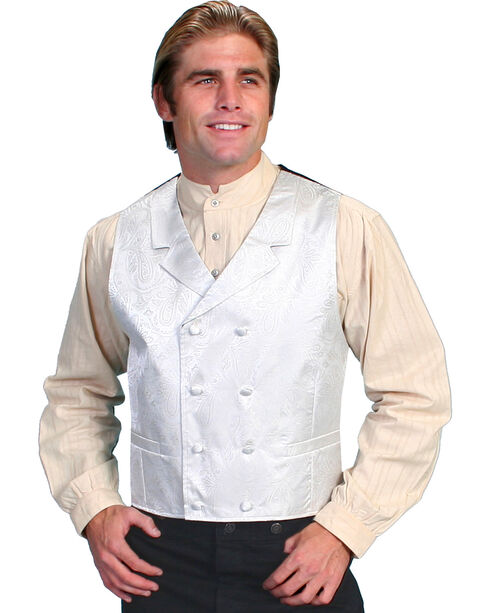 Rangewear by Scully Paisley Print Double Breasted Vest, Cream, hi-res