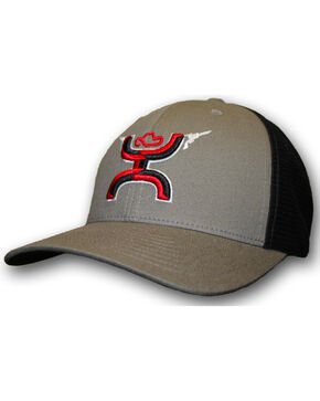 HOOey Boys' Youth Grey Gunner FlexFit Hat, Grey, hi-res