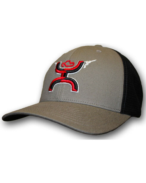 HOOey Boys' Youth Grey Gunner FlexFit Hat, Grey, hi-res