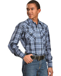 Ely Cattleman Boys' Black & Gray Lurex Plaid Shirt, , hi-res