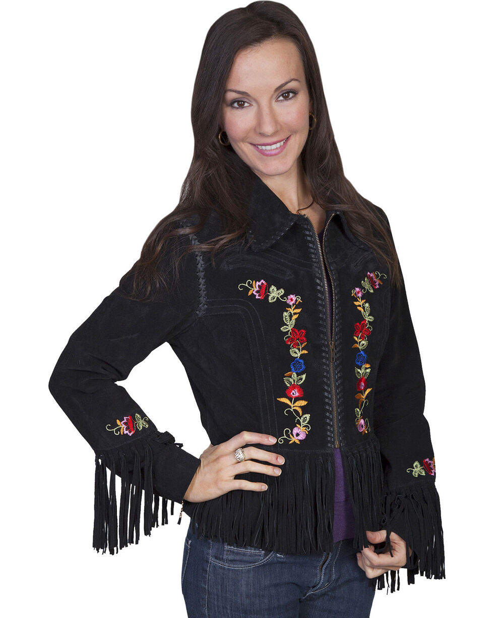 Scully Embroidered Zip-Up Suede Jacket, Black, hi-res