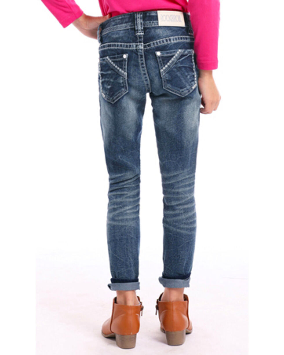 Rock & Roll Cowgirl Girls' Feather Stitched Skinny Jeans , Indigo, hi-res