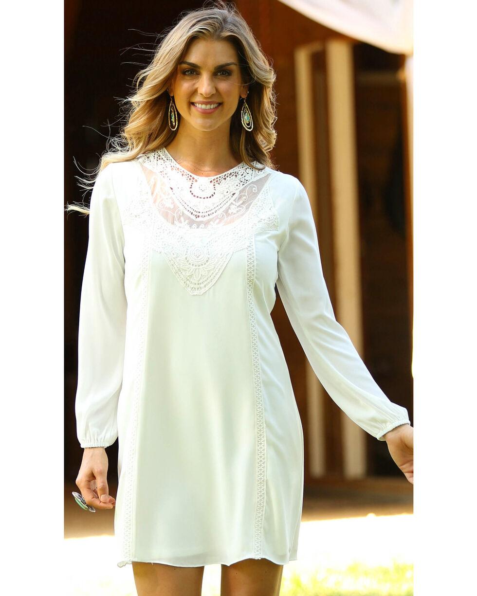 Wrangler Women's Lace Inset Long Sleeve Dress, Cream, hi-res