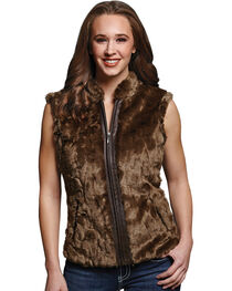 Cripple Creek Women's Faux Fur Brown Sweater Vest, , hi-res