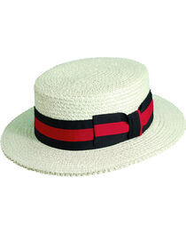 Scala Men's White Straw with Ribbon Trim Boater Hat, , hi-res