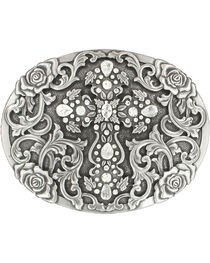 Nocona Women's Oval Cross Rhinestone Buckle, , hi-res