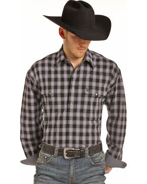 Panhandle Men's Black Check Print Western Shirt, Black, hi-res