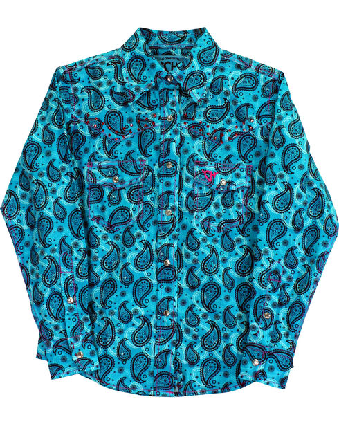 Cowgirl Hardware Girls' Two Tone Paisley Print Long Sleeve Snap Shirt, Turquoise, hi-res