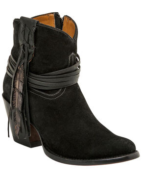 Lucchese Women's Robyn Hand Tooled Feather Booties, Black, hi-res
