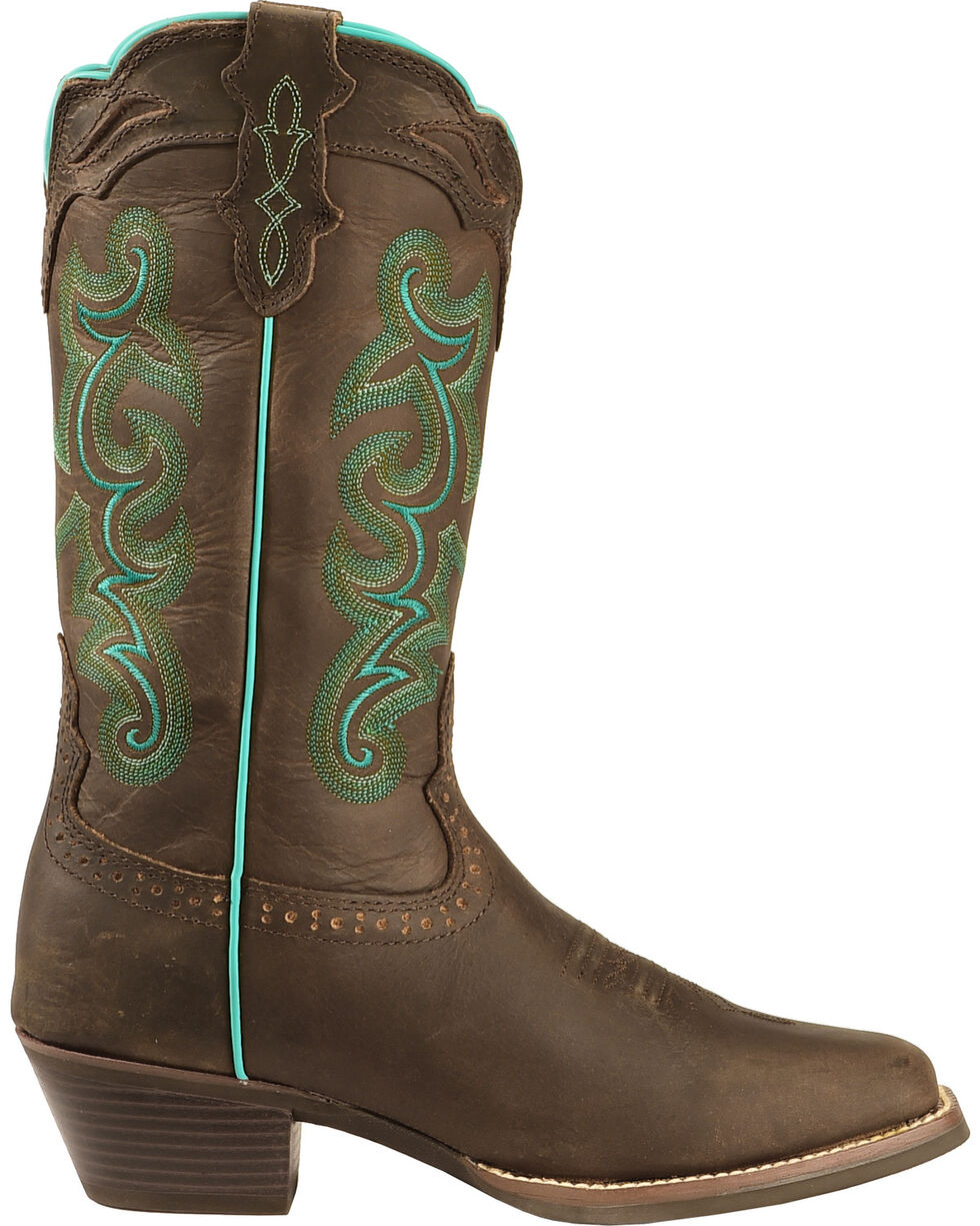 Justin Women's Buffalo Silver Collection Western Boots, Chocolate, hi-res