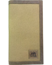 Berne Men's Canvas Leather Trim Checkbook Wallet , , hi-res