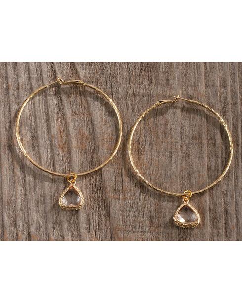 Gemelli Jewelry Women's Gold Crystal Hoop Earrings, Gold, hi-res