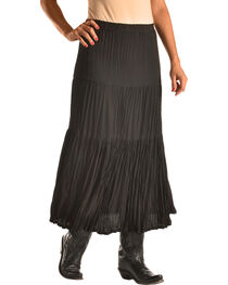 "Pink Cattlelac Women's Black Crinkle Skirt - 36"" , , hi-res"