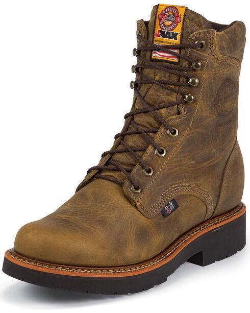 """Justin Men's J-Max 8"""" Work Boots, Tan, hi-res"""